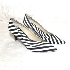 J. Renee Black and White Striped Heels